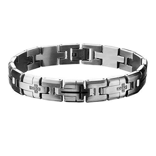 (Tribal Hollywood Multi-Cross Stainless Steel Mens Cross Link Bracelet W Cz Stones)