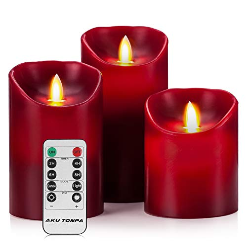 battery candles with timers red - 8