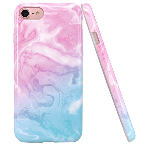 iPhone 7 Case, iPhone 8 Case, JAHOLAN Pink Blue Marble Design Slim Shockproof Flexible Glossy TPU Soft Case Rubber Silicone Skin Cover for Apple iPhone 7 / iPhone 8 (Pink Case Blue Phone)