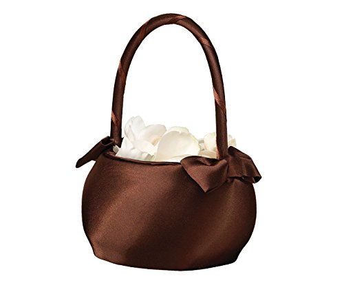 Lillian Rose Brown Satin Wedding Flower Girl Basket