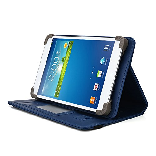 Trio Stealth HD Elite 7.85 Inch Tablet Case, UniGrip PRO Series - NAVY BLUE - By Cush Cases (Case Features Top Quality PU Leather with Bulit In Stand, Hand Strap, 3 Card Slots and SIM Card Holder) ()