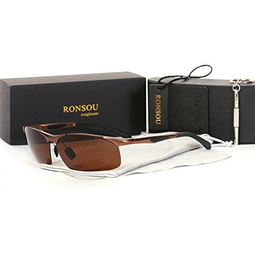 Ronsou Men's Sport Aluminium-Magnesium Polarized Sunglasses For Driving Cycling Fishing Golf Glasses brown frame/brown - Polarized For Lenses Golf