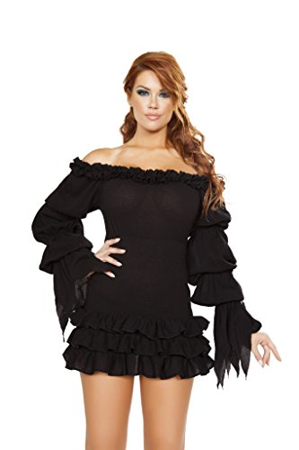 Ruffled Shorts Costumes (Roma Costume Ruffled Pirate Dress with Sleeves & Multi Layered Skirt Bundle with Pink Shorts)
