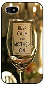 iPhone 5C Keep calm and mother on - black plastic case / Keep calm, funny, quotes, wine glass