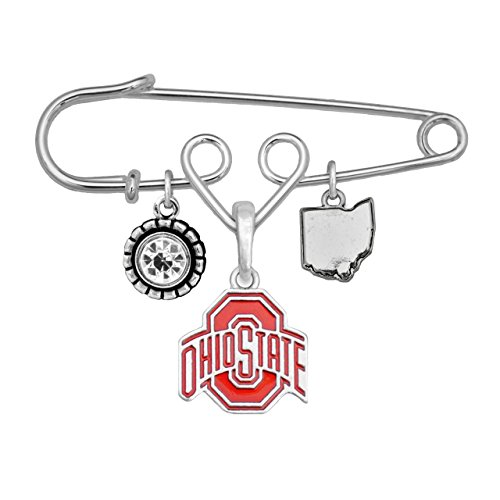 Ohio State Buckeyes Home Sweet Home Silver Crystal State Pin Brooch Jewelry OSU