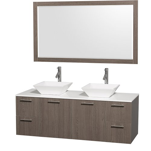 Cheap  Wyndham Collection Amare 60 inch Double Bathroom Vanity in Grey Oak with..