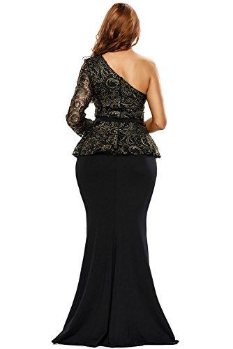 Mesdames Long Noir et Or élégant en dentelle une épaule robe péplum Soirée Cocktail Bal Danse Party Club Wear Taille S UK 10–12–EU 38–40