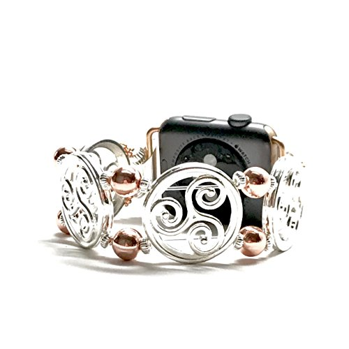 Apple Watch Replacement Band - Silver Celtic Symbol and Rose Gold Bead jewelry bracelet (38mm Rose - Frame Common Most Sizes