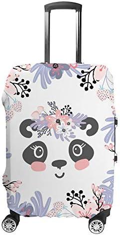 スーツケースカバー トラベルケース 荷物カバー 弾性素材 傷を防ぐ ほこりや汚れを防ぐ 個性 出張 男性と女性花の冠とかわいい小さなパンダの頭