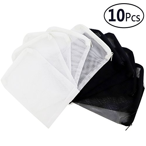 (DEPEPE 10pcs Aquarium Filter Bags (5pcs Black + 5pcs White) for Activated Carbon, Biospheres, Ceramic Rings, etc. Clean and Recyclable )