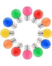 12-pack Gekleurde LED-lampen B22 Bajonet, Festoon-golflamp 1,5W, Gemengde Kleuren Rood Groen Blauw Oranje Geel Roze Voor Indoor Buitenshuis String, Kerst, Boom, fee Feestavondverlichting [Energieklasse A +]