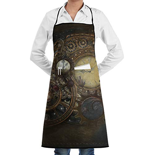- Waterdrop Resistant Bib Aprons with Large Pocket and Long Ties for Cafe Bar Pub Salon Women - Steampunk Clocks - Liquid Drop Resistant, Comfortable and Easy Care Aprons