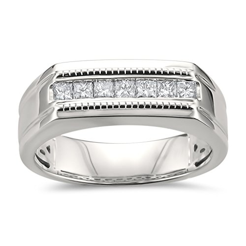 La4ve Diamonds 14k White Gold Princess-Cut Diamond Men's Milgrain Vintage Wedding Band Ring (1/2 cttw, I-J, SI2-I1), Size 10