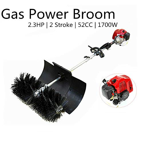 52cc Gas Power Nylon Brush Sweeping Broom Driveway Turf Lawns Artificial Grass Snow Clean Handheld Sweeper