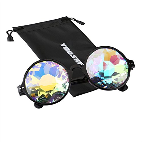 YOOSKE Kaleidoscope Glasses Round Sunglasses for Women Men Rainbow Prism Sun Glasses Mirrored Steampunk Goggles with Sunglasses Cloth Bag (Black - Sunglasses Rainbow