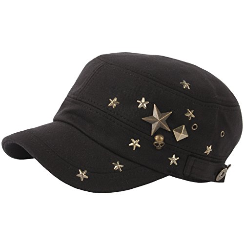 RaOn A173 Skull Devil Star Metal Stud Fashion Punk Club Army Cap Cadet Military Hat (Black) Skull Cadet Hat