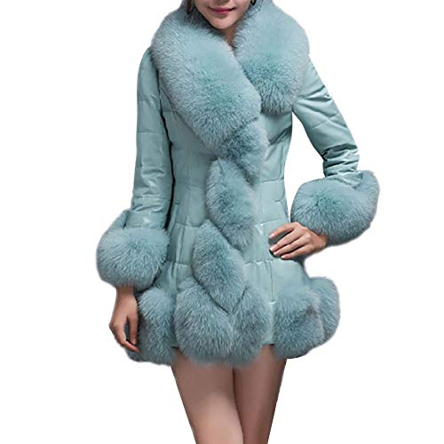 COPPEN Women Faux Fur Coat Elegant Warm Splice Outerwear Long Fake Down Jacket