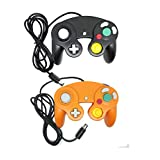 Bowink Classic NGC Wired Controller for Wii Gamecube (Black and Orange)