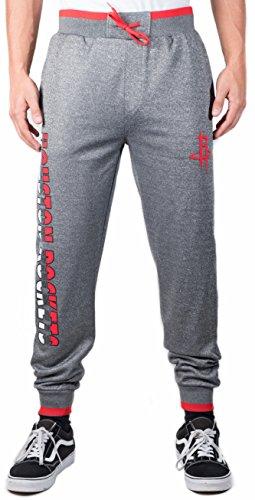 NBA Houston Rockets Men's Jogger Pants Active Basic Bounce Fleece Sweatpants, Large, Charcoal
