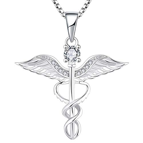 (YL Caduceus Necklace Sterling Silver Cubic Zirconia Angel Wing Pendant Jewelry for Women)
