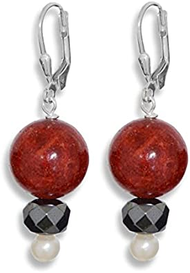 ERCE perlas de agua dulce - coral rojo - hematita piedra semipreciosa pendientes, plata de ley 925