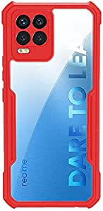 For Oppo Realme 8 / Realme 8 Pro Silicone Case Anti-shock Protector Camera Shockproof Corners - Clear & Red