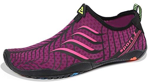 HEETA Water Sports Shoes for Women Men Quick Dry Aqua Socks Swim Barefoot Shoes for Beach Pool Surf Swim Yoga Rose Red_B 36# ()