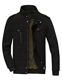 URBANFIND Men's Slim Fit Classic Fashion Navy Epaulet Casual Cotton Light Jacket