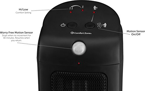 BOVADO USA Personal Ceramic Space Heater with Motion Sensor – Automatic Safety Shut Off – Adjustable, Portable and Lightweight – by Comfort Zone