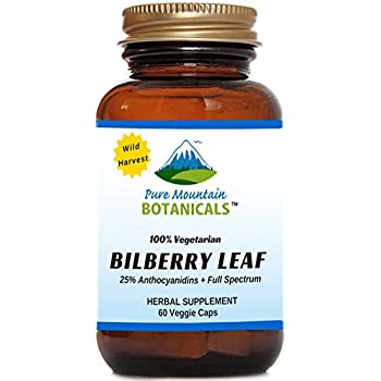 Bilberry Capsules. Full Spectrum Wild Harvest Bilberry Leaf & Concentrated Extract. 60 Veggie Kosher Caps