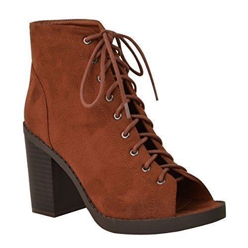 Ankle Suede Faux Open Womens Size Thirsty Heel Fashion UP Ladies Tan Block New Boots Shoes Lace Platform Toe g8Txqwfa
