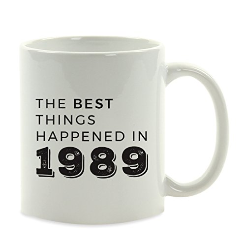 Andaz Press 11oz. Birthday Milestone Coffee Mug Gift, The Best Things Happened in 1989, 1-Pack, 29th, 30th, 31st, 32nd Birthday, Anniversary Ideas for Him or Her