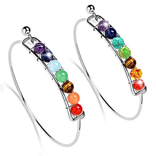 Bling Toman Silver Chakra Bracelet Healing Bracelet for Women Girls Gemstone Bracelet Beads Bracelet Cuff Open Bangles Bracelet (Silver 2 PCS)