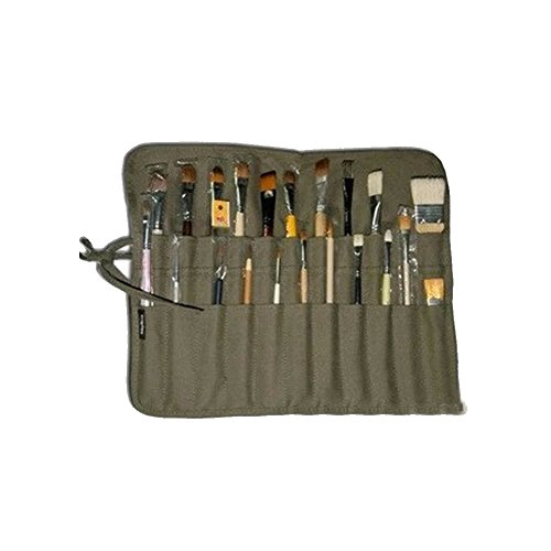 HNYG Canvas Art Brush Roll-Up Bag Artist Paintbrush Storage Case Holder Army Green A528 by HNYG