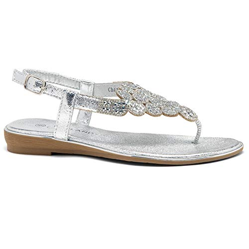 Herstyle Women's Charlee Rhinestone Bohemian Slip On Flip Flops Shoes Strap Gladiator Toe Loop Flat Sandals Silver 8.5