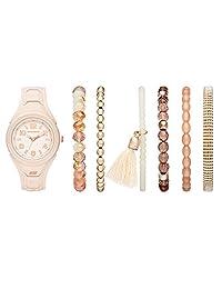 Skechers SR9020 Reloj para Mujer, Correa Silicon Rosa, Caratula Rosa, Análogo