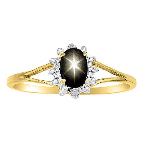 Yellow Sapphire Star (Diamond & Black Star Sapphire Ring 14K Yellow or 14K White Gold)