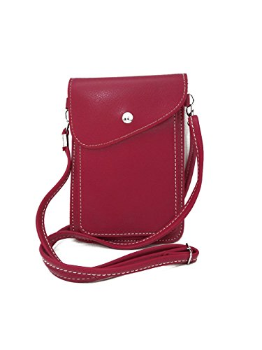 TEGAOTE PU Leather Small Crossbody Bag Double Layers Wallet Purse 6.4 Inches Cellphone Pouch with Shoulder Strap for Women Girls (Rose) by TEGAOTE
