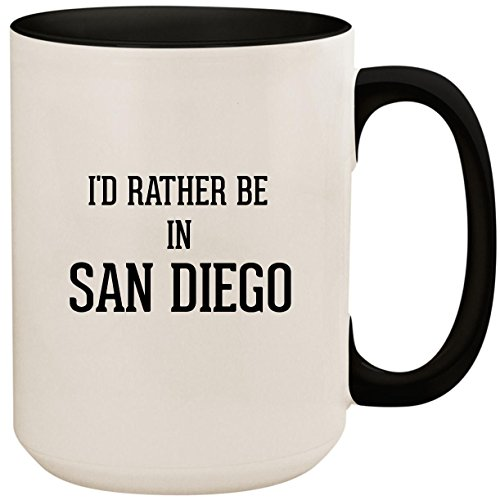 I'd Rather Be In SAN DIEGO - 15oz Ceramic Colored Inside and Handle Coffee Mug Cup, Black