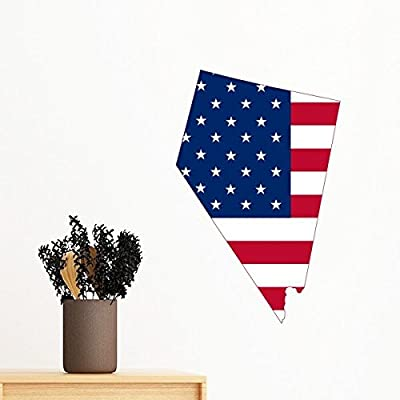 The United States Of America USA Nevada Map Stars And Stripes Flag Shape Removable Wall Sticker Art Decals Mural DIY Wallpaper for Room Decal