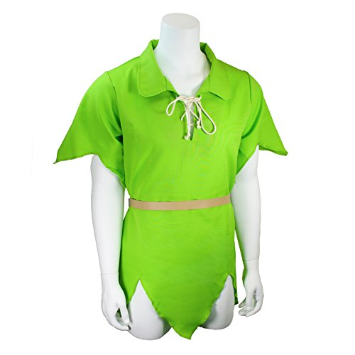Womens Peter Pan Costume (Men's Classic Peter Pan Costume Tunic and Belt, Green (Large/X-Large))
