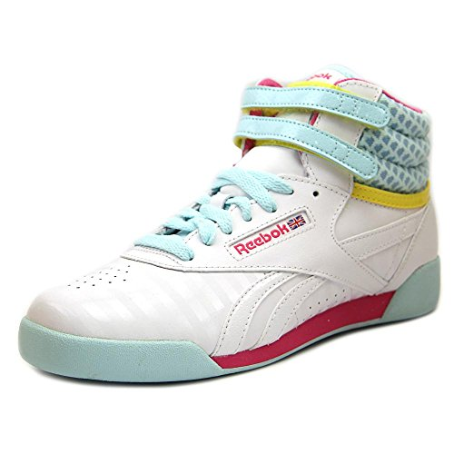 (Reebok Freestyle Hi Youth US 7 White Sneakers)