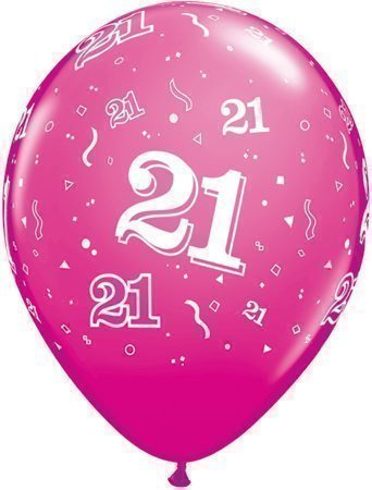 Age 21 21st Birthday Wild Berry Rosa 11 Qualatex Latex Balloons X 5 By