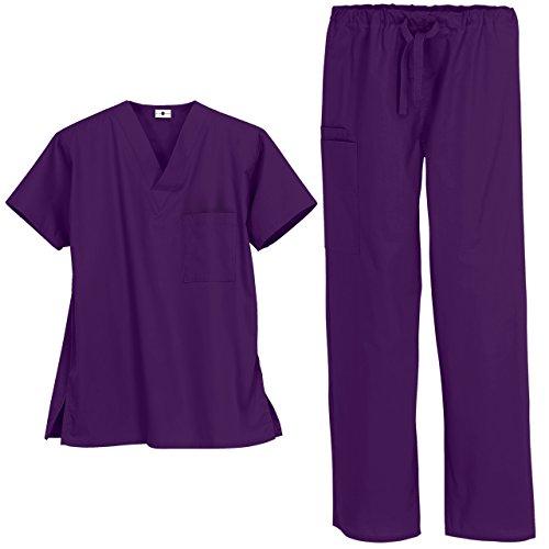 Strictly Scrubs Unisex Medical Uniform Set (X-Small, Eggplant)