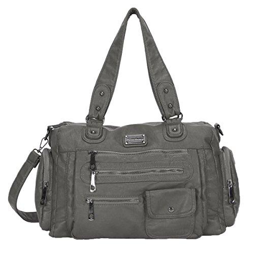 oulder Bags Purse Soft Large Handbags for Women (4 Exterior Pockets)