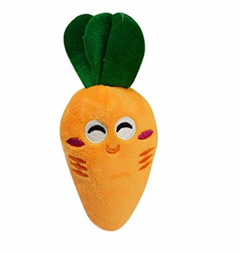 vmree Pet Bite Toys, Dog Puppy Chew Squeaky Plush Sound Toy Cute Vegetable Carrot Design Toys (Orange)