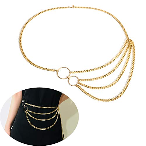 (Jurxy Multilayer Alloy Waist Chain Body Chain for Women Golden Waist Belt Pendant Belly Chain Adjustable Body Harness for Jeans Dresses – Gold Style 6)