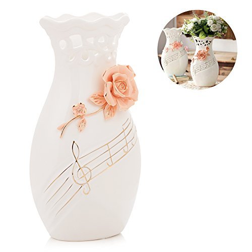 Large White Ceramic Flower Vases,10.6'' Oval Tall Decorative Vases with Handmade Porcelain Pink Flowers for Living Room, Kitchen, Table, Home, Office, Wedding, Centerpiece or as a Gift