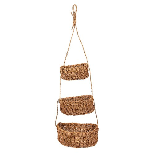Juvale Set of 3 Hanging Pot Holders  Decorative Seagrass Hanging Baskets Wall Hanging Baskets for Outdoor Indoor Plant Display Brown  Hanging Size 245 Inches
