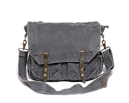 iBaste Men Single Messenger Bag bolso vintage lona bolso de hombro con Correas durables (Negro+Gris) Negro+Gris